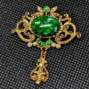 Vintage Art Nouveau Revival Brooch w/ Dangle